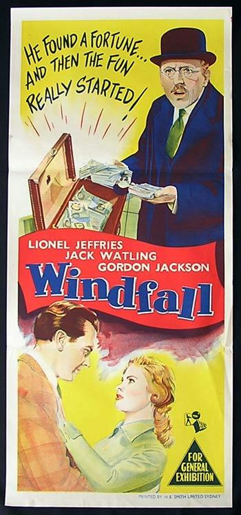 WINDFALL Original Daybill Movie poster Lionel Jeffries