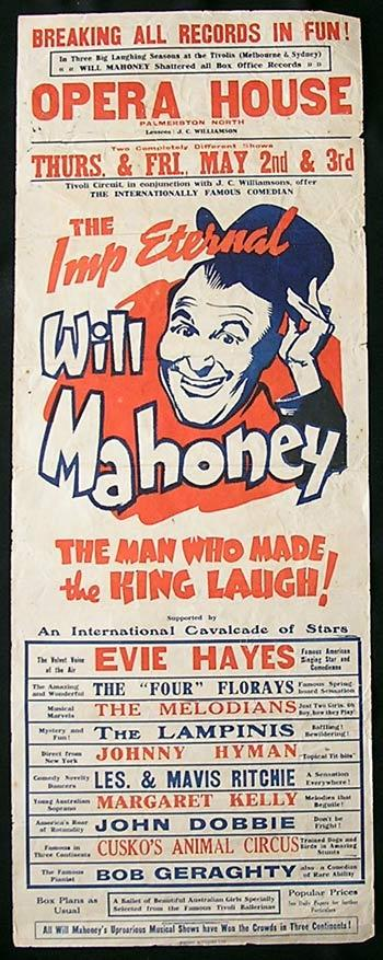 WILL MAHONEY and EVIE HAYES Long Daybill Movie poster 1940 Rare Vaudeville Australian TIVOLI THEATRE