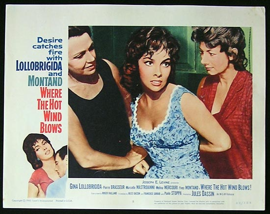 WHERE THE HOT WIND BLOWS '60 Lollobrigida and Montand Lobby Card #8