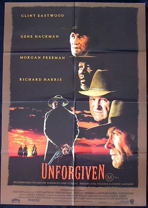 UNFORGIVEN Original Australian One Sheet Movie Poster Clint Eastwood