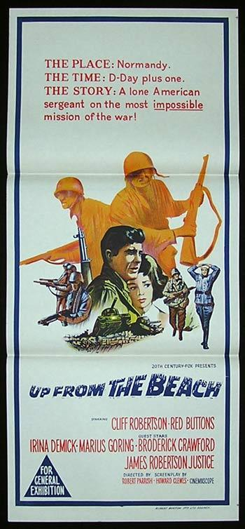 UP FROM THE BEACH Movie Poster 1965 Cliff Robertson Australian Daybill