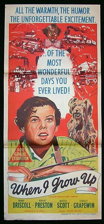 WHEN I GROW UP Movie Poster 1951 Bobby Driscoll CIRCUS Australian Daybill