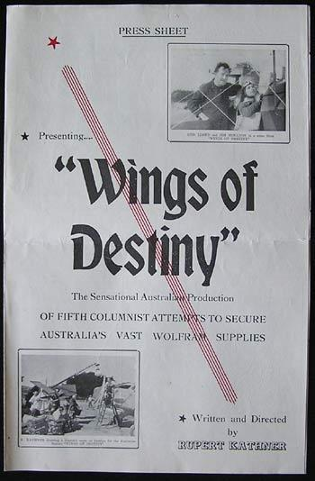 WINGS OF DESTINY 1940 Rare RUPERT KATHNER Australian Press Book Wolfram