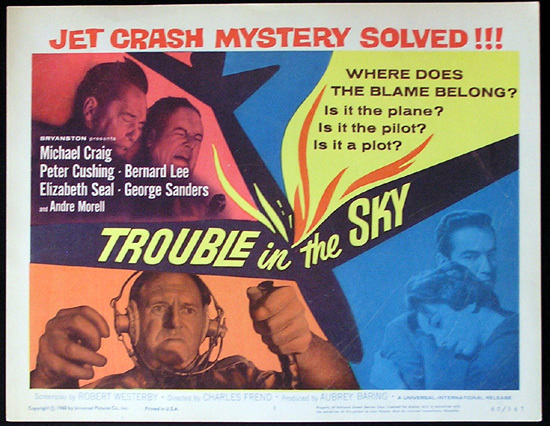 TROUBLE IN THE SKY Peter Cushing Title Lobby Card