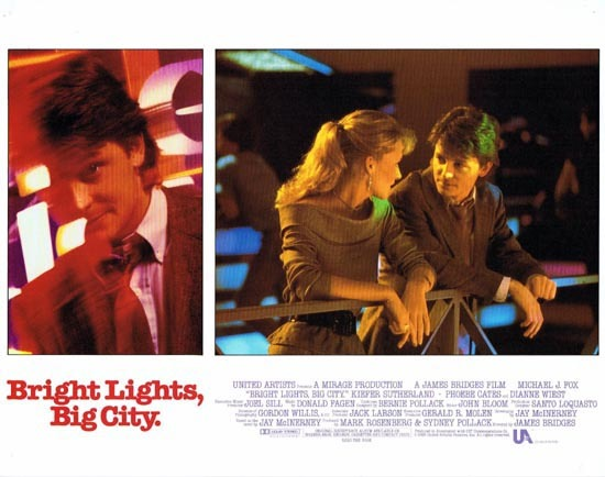 BRIGHT LIGHTS BIG CITY 1988 US Lobby card 1 Michael J.Fox