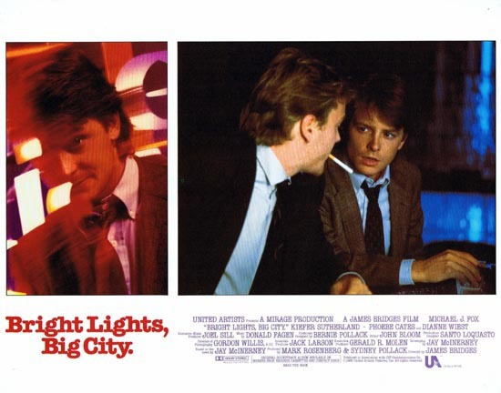 BRIGHT LIGHTS BIG CITY 1988 US Lobby card 3 Michael J.Fox