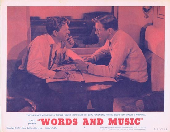 WORDS AND MUSIC 1962r Mickey Rooney Rodgers and Hart Lobby Card 7