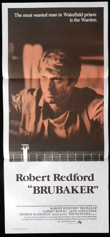 BRUBAKER 1980 Robert Redford Daybill Movie poster