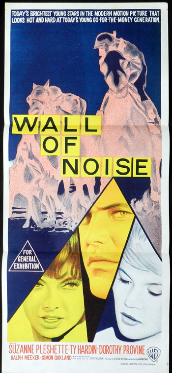 WALL OF NOISE Suzanne Pleshette RARE Daybill Movie poster