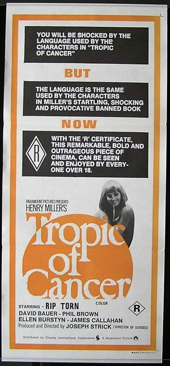 TROPIC OF CANCER Australian Daybill Movie poster Rip Torn Ellen Burstyn