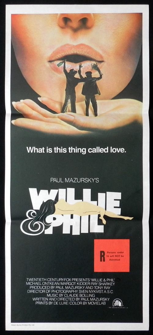 WILLIE AND PHIL Australian Daybill Movie Poster Paul Mazursky