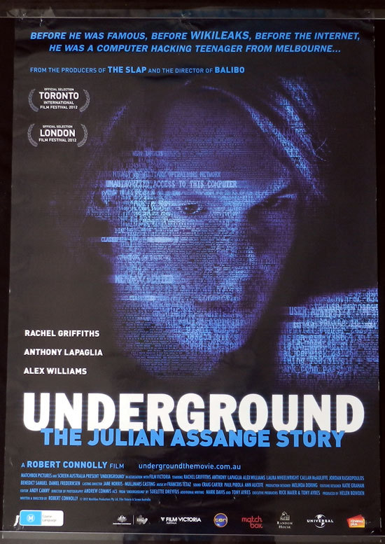 UNDERGROUND 2013 Julian Assange WIKI LEAKS Film Australian 1sht Movie poster