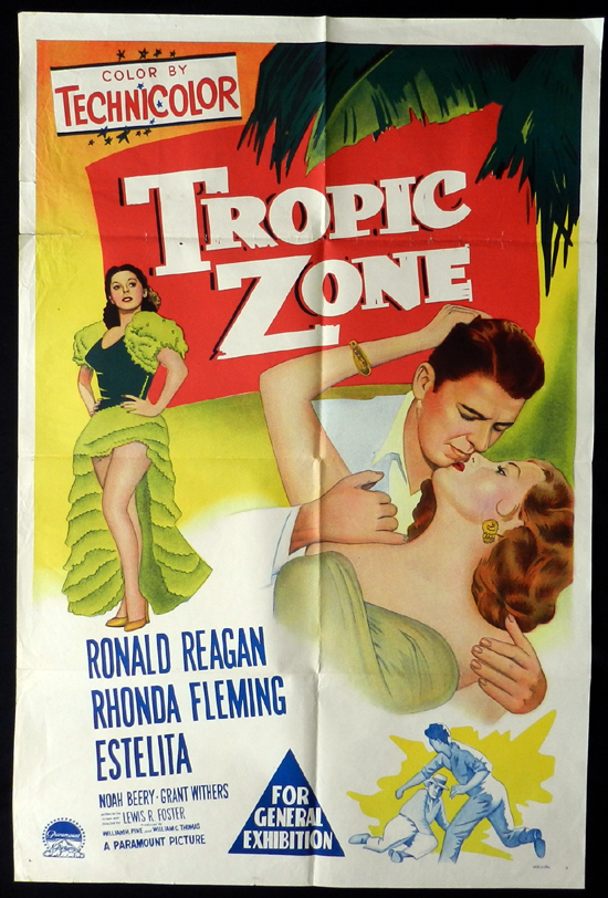 TROPIC ZONE 1953 Ronald Reagan RARE One sheet Movie poster