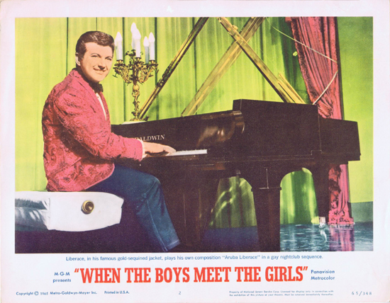 WHEN THE BOYS MEET THE GIRLS Lobby Card 2  Liberace Gay Nightclub sequence!