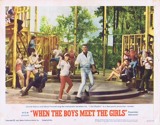 WHEN THE BOYS MEET THE GIRLS Lobby Card 8 Connie Francis Harve Presnell I Got Rhythm
