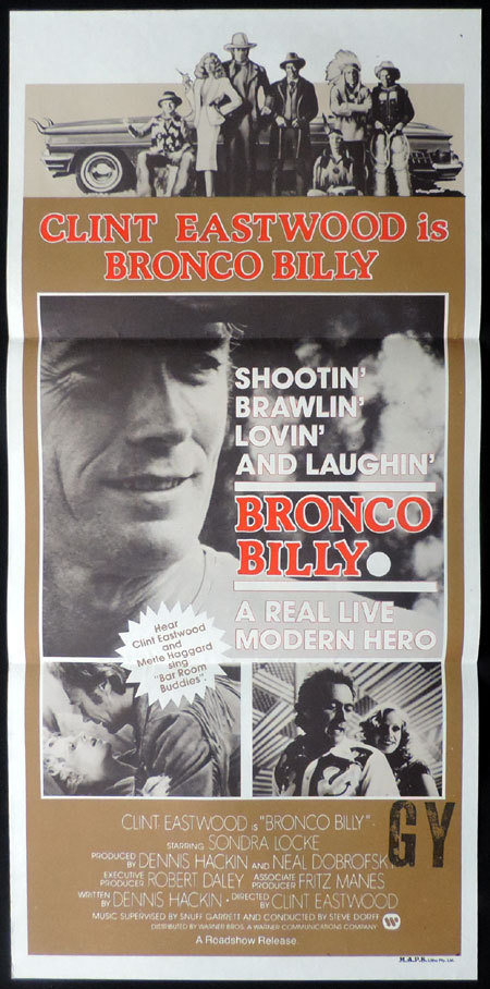 BRONCO BILLY Australian Daybill Movie Poster Clint Eastwood