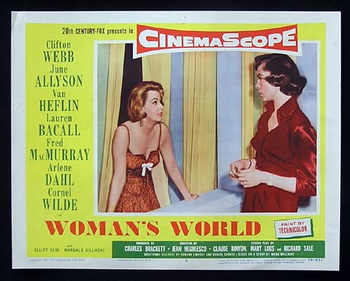 WOMAN'S WORLD Lobby Card 3 Lauren Bacall Clifton Webb June Allyson