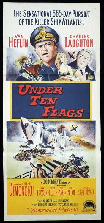 UNDER TEN FLAGS Daybill Movie poster Van Heflin
