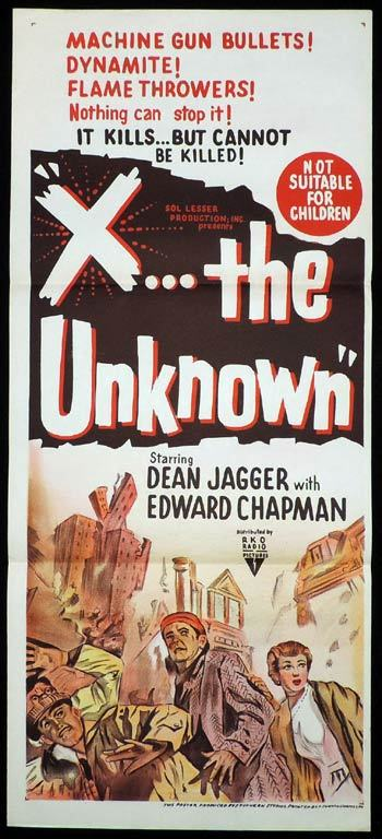 X: The Unknown, Daybill, Movie poster, Joseph Losey, Leslie Norman, Dean Jagger, Edward Chapman, Leo McKern, Anthony Newley