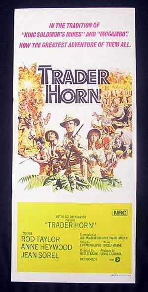 TRADER HORN Rod Taylor VINTAGE Original Daybill Movie Poster