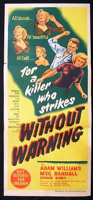 WITHOUT WARNING 1952 Adam Wiliams FILM NOIR Daybill Movie Poster