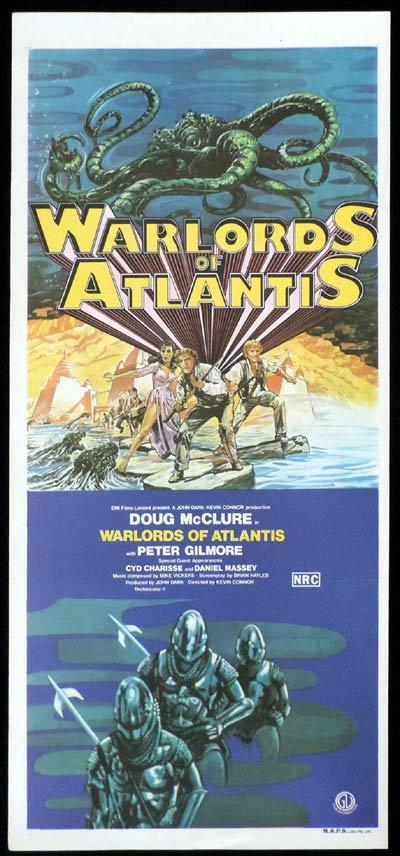 WARLORDS OF ATLANTIS Sci Fi Original Daybill Movie Poster Doug McClure