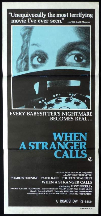 WHEN A STRANGER CALLS Daybill Movie Poster Charles Durning Horror