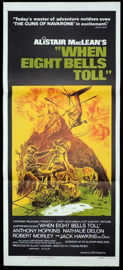 WHEN EIGHT BELLS TOLL Daybill Movie Poster Anthony Hopkins Alistair MacLean