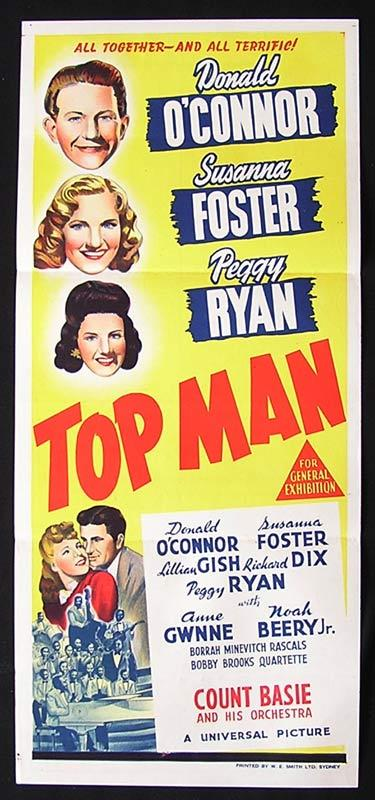 TOP MAN Daybill Movie Poster Leon Errol Donald O'Connor