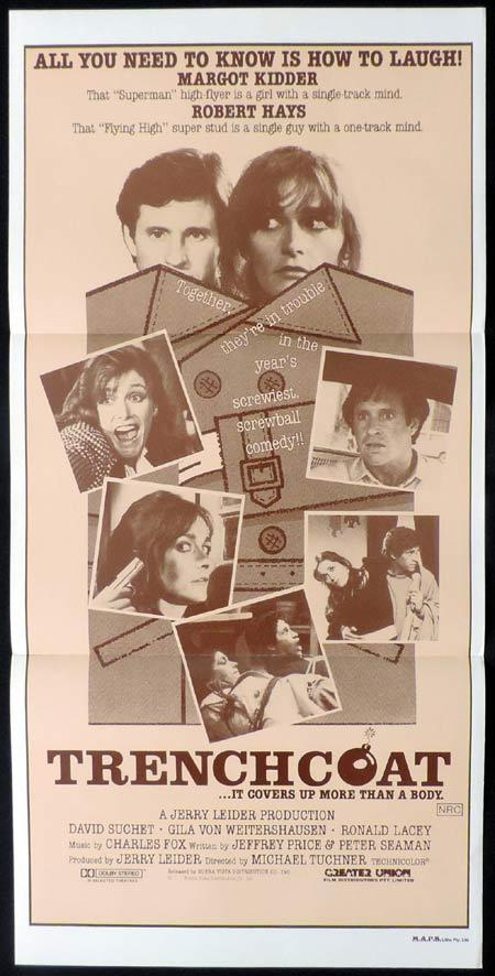 TRENCHCOAT Daybill Movie Poster Margot Kidder and Robert Hays
