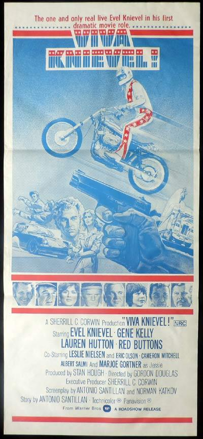 VIVA KNIEVEL Daybill Movie Poster Evel Knievel Gene Kelly Lauren Hutton