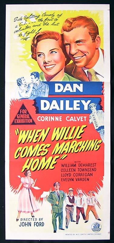 WHEN WILLIE COMES MARCHING HOME Daybill Movie Poster Dan Dailey John Ford