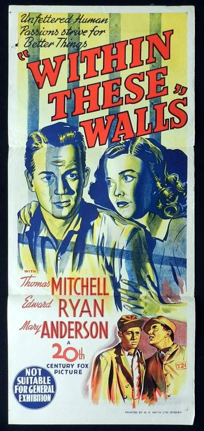 WITHIN THESE WALLS Daybill Movie Poster Thomas Mitchell Film Noir
