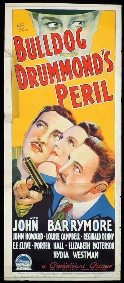 BULLDOG DRUMMOND'S PERIL Long Daybill Movie poster 1938 John Barrymore