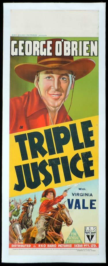TRIPLE JUSTICE Long Daybill Movie poster 1940 George O'Brien