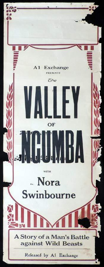 VALLEY OF NGUMBA Long Daybill Movie poster 1924 Nora Swinburne Silent Cinema