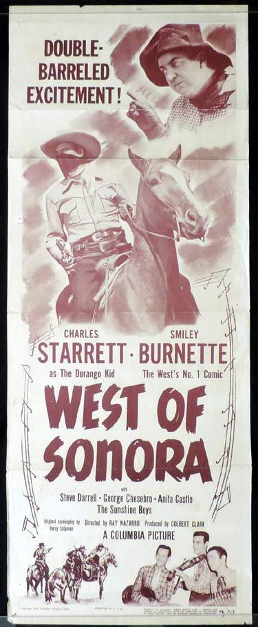 WEST OF SONORA Movie Poster Charles Starrett Durango Kid US Insert