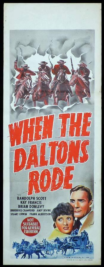 WHEN THE DALTONS RODE Long Daybill Movie poster 1940 Randolph Scott