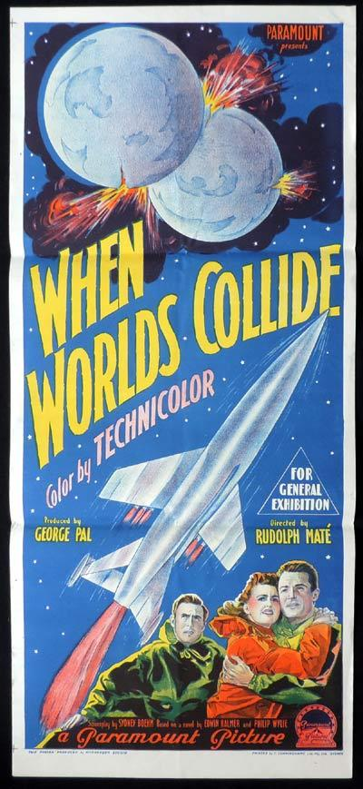 WHEN WORLD'S COLLIDE Daybill Movie Poster 1951 Science Fiction Sci Fi  Worlds