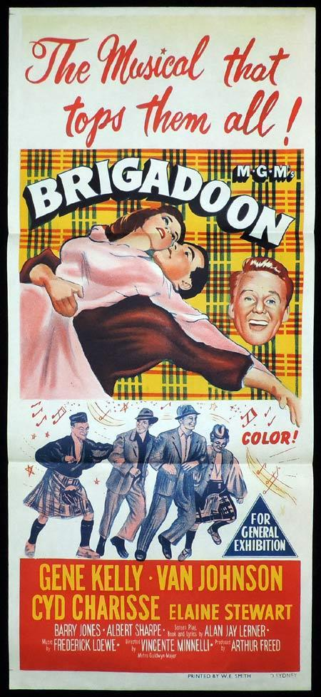 BRIGADOON Movie Poster 1954 Gene Kelly daybill Movie poster