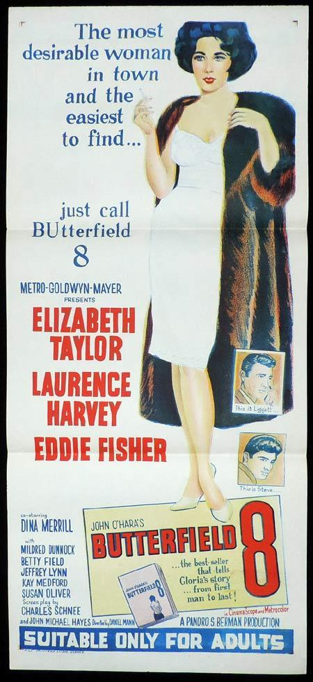 BUTTERFIELD 8 Original Daybill Movie Poster Elizabeth Taylor