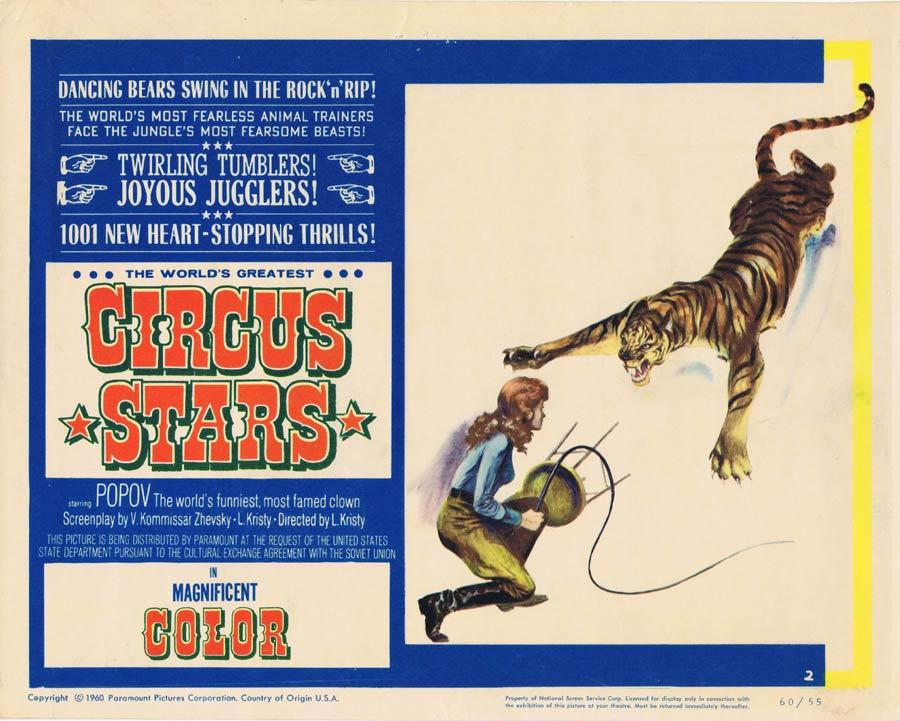 WORLD'S GREATEST CIRCUS STARS Lobby Card 2 Oleg Popov Russian Circus Lion Tamer