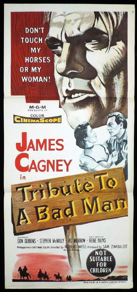 TRIBUTE TO A BAD MAN Original Daybill Movie Poster James Cagney Western