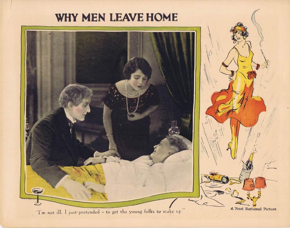 WHY MEN LEAVE HOME Lobby Card Art Deco border 1924 Silent Cinema
