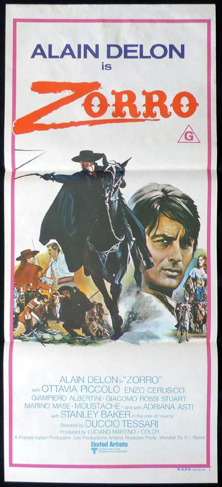 ZORRO Original Daybill Movie Poster Alain Delon Ottavia Piccolo