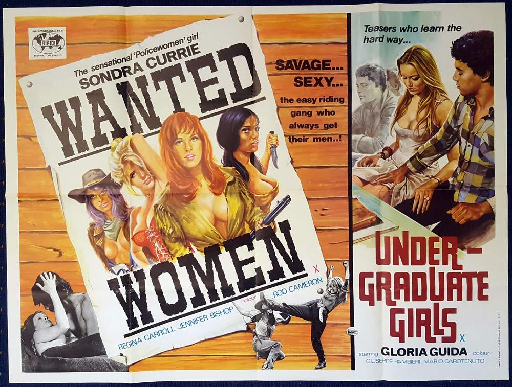 WANTED WOMEN UNDERGRADUATE GIRLS Double Bill GLORIA GUIDA British Quad Movie poster