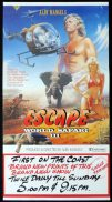 "WORLD SAFARI 3 ESCAPE Daybill Movie poster Alby Mangels AUSTRALIAN FILM ""B"""