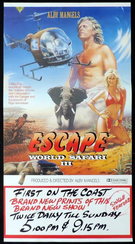 "WORLD SAFARI 3 ESCAPE Daybill Movie poster Alby Mangels AUSTRALIAN FILM ""B"""