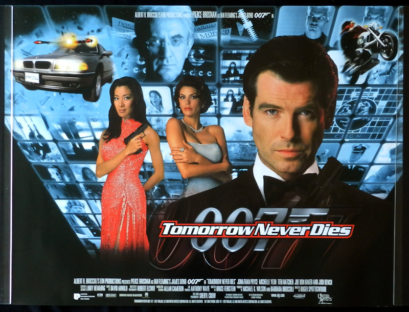 TOMORROW NEVER DIES British Quad Movie Poster DS 1999 James Bond 007
