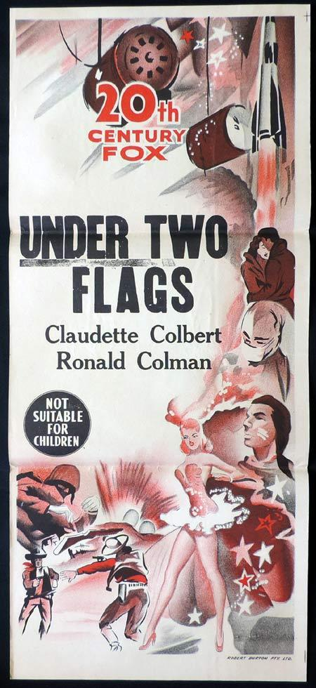 UNDER TWO FLAGS Rare TWENTIETH CENTURY FOX Stock Blank Daybill Movie poster 1950s